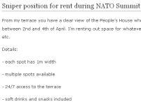 Închiriez spaţiu ideal pentru lunetişti, în timpul summitului NATO