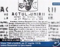 Zi istorică. 90 de ani de la Unirea Basarabiei cu România