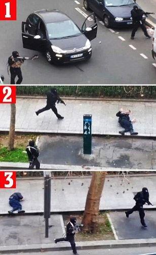 """""""Vrei să mă OMORI?"""" Momentul cutremurător, surprins de camerele de supraveghere, în care TERORIŞTII împuşcă un poliţist  #jesuischarlie 442"""