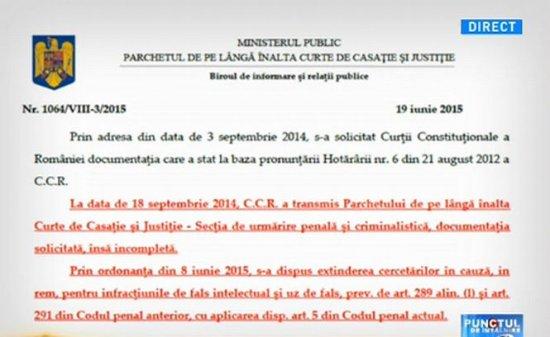Punctul de Întâlnire. Documentul care confirmă că Băsescu a fost salvat de CCR prin fals intelectual şi uz de fals 74