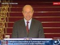 Băsescu: modificările Codului Penal i-ar scoate de sub urmărire pe Patriciu, Tender...