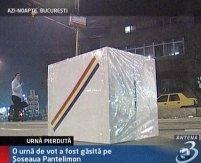 O urnă de vot a fost găsită pe şoseaua Pantelimon