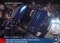 Autoturism al S.R.I. lovit în plin de o autoutilitară, în Capitală <font color=red>(VIDEO)</font>