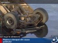 O maşină a Ministerului Apărării a căzut în râul Dâmboviţa