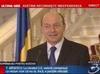 """Traian Băsescu: """"România nu va recunoaşte independenţa provinciei Kosovo"""" <font color=red>(VIDEO)</font>"""