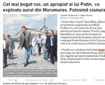Un magnat rus, apropiat al lui Putin, va exploata aurul de la Baia Mare utilizând cianura