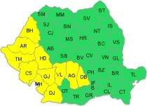Cod galben de ploi în 11 judeţe din vestul ţării