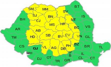 Cod galben de ploi pentru nordul, centrul ţării şi zonele de deal şi de munte
