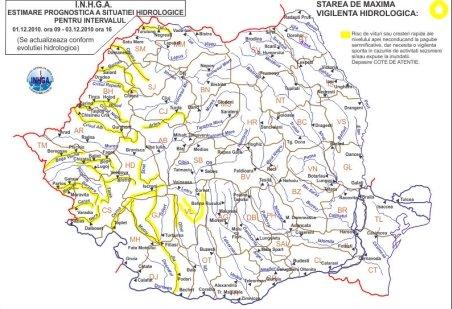 Cod Portocaliu de inundaţii pe râul Crasna şi Galben în alte 15 bazine hidrografice