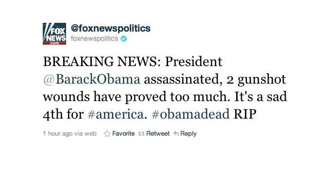 Barack Obama a fost asasinat. Anunţ postat de Fox News pe Twitter