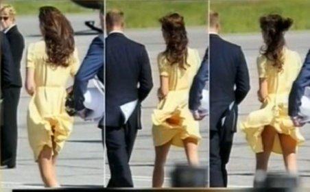 Cu rochia-n vânt: Ducesa de Cambridge le dezvăluie fotografilor indiscreţi lenjeria sa intimă