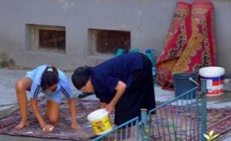 Imagini incredibile: Şi-au spălat covorul în mijlocul unui bulevard din Bucureşti şi au blocat traficul