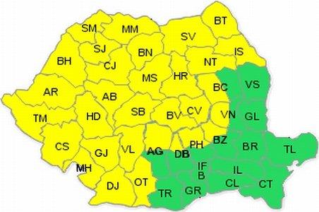 Cod galben de ploi şi grindină, în majoritatea zonelor ţării. Vezi prognoza meteo de weekend