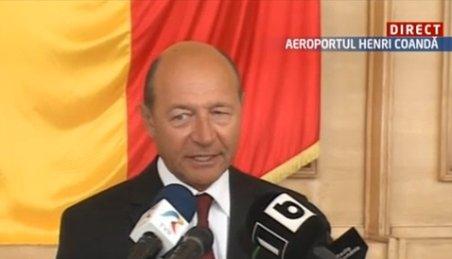 Preşedintele Traian Băsescu a vorbit pe Aeroportul Henri Coandă despre vizita în SUA
