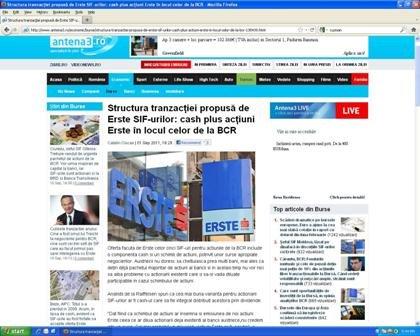 Anuntul Erste confirmă informaţiile publicate în exclusivitate de antena3.ro privind structura tranzacţiei, întâlnirea crucială de la BCR din 8 septembrie dintre austrieci şi şefii SIF-urilor şi data când au fost făcute publice detaliile ofertei