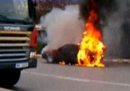 O maşină a luat foc în centrul oraşului Târgovişte