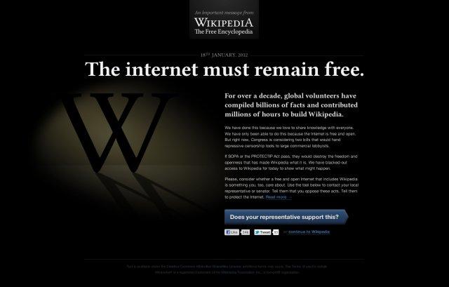 Wikipedia, Mozilla şi alte site-uri îşi vor opri activitatea pentru 24 de ore în semn de protest faţă de actul SOPA