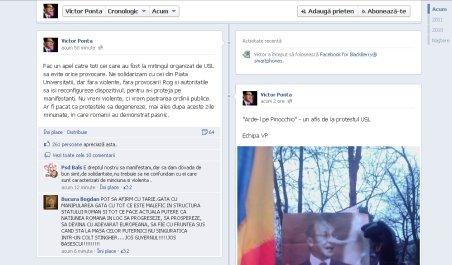 Ponta, apel la calm pe Facebook: Cei care au fost la mitingul USL să evite orice provocare