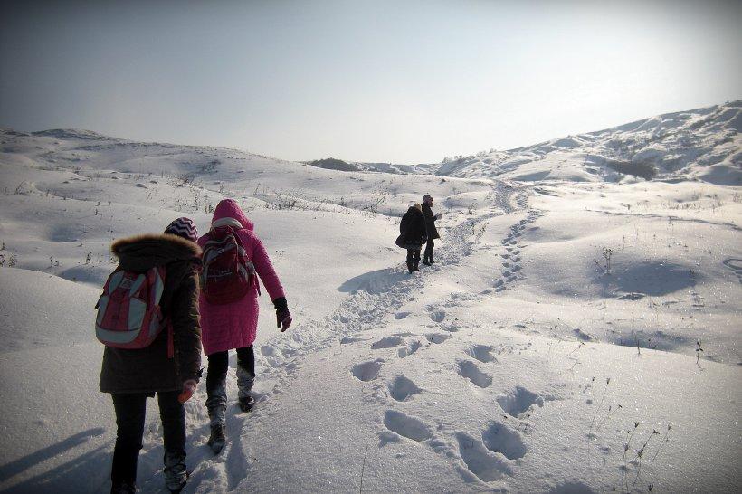 Braşov: Doi fraţi parcurg zilnic 5 kilometri, prin ger şi nămeţi, pentru a ajunge la şcoală