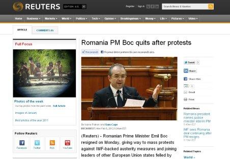 Presa internaţională, despre retragerea lui Boc: Demisionează pe fondul protestelor şi al scăderii popularităţii