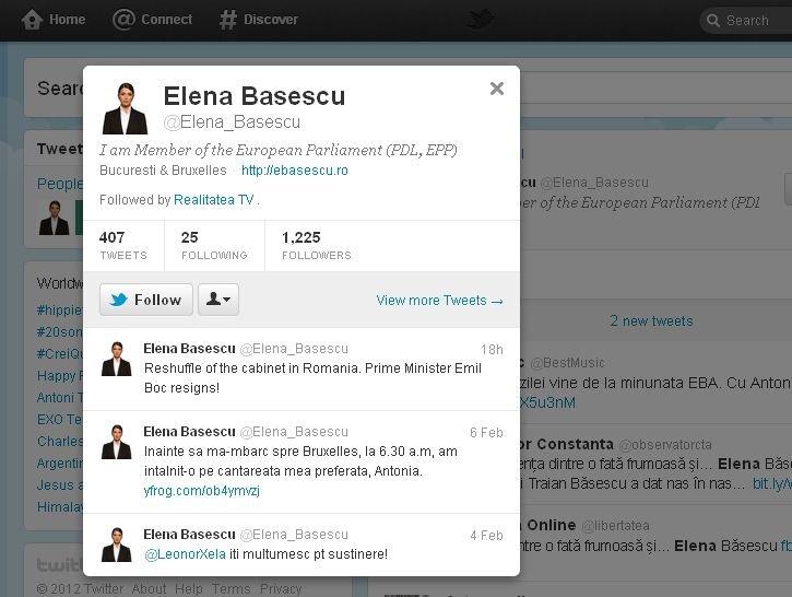 Vezi ce a scris Eba pe Twitter despre demisia lui Boc şi ce imagine a postat înainte de a merge la muncă