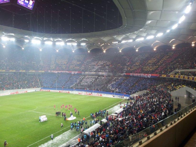 Coregrafie cu chipul lui Neşu, la meciul dintre Steaua şi FC Twente