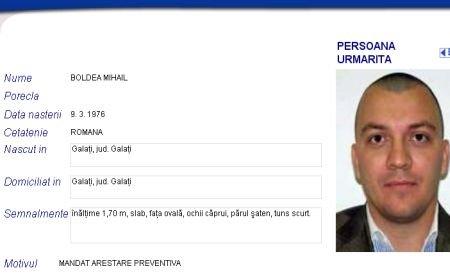"""Mihail Boldea, dat în urmărire internaţională. Profilul deputatului, la rubrica """"Persoane urmărite"""" a site-ului Poliţiei Române"""