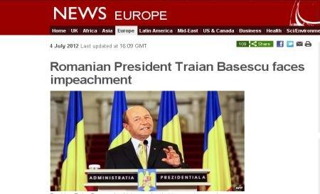 """""""Probabil că Băsescu va pierde referendumul şi funcţia"""". """"Lupta pentru putere atinge un nivel maxim"""". Presa internaţională, despre situaţia din România"""