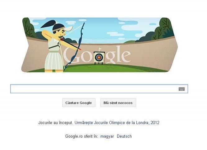 Google îşi schimbă logo-ul pentru a face referire la proba tirului cu arcul, în Jocurile Olimpice
