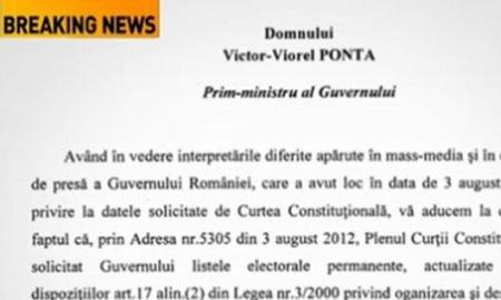 Adresă a Curţii Constituţionale către Guvern. Magistraţii solicită listele electorale permanente