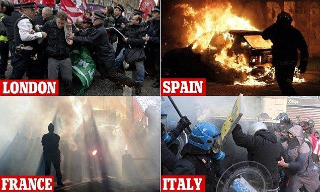 Violenţe EXTREME în Europa. Ziua protestelor anti-austeritate s-a transformat în război. Sute de protestatari, arestaţi