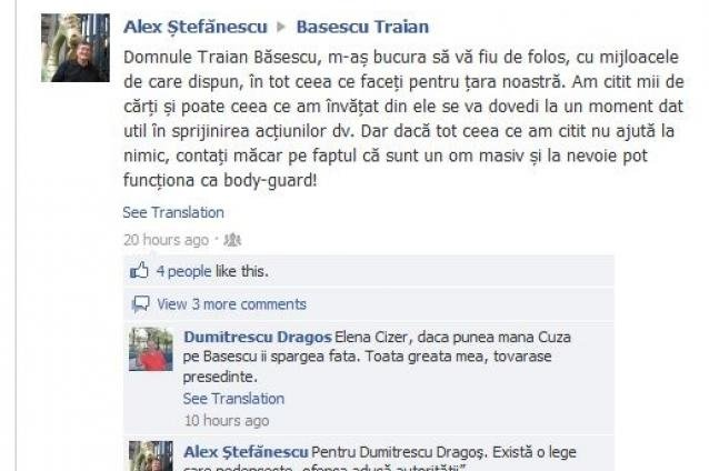 Scriitorul şi criticul Alex Ştefănescu vrea să fie bodyguard-ul lui Băsescu. Anunţul, făcut public pe Facebook
