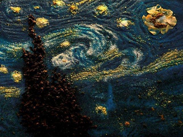 Opere de artă CONDIMENTATE. Desenează picturi clasice folosind săruri, condimente şi coloranţi