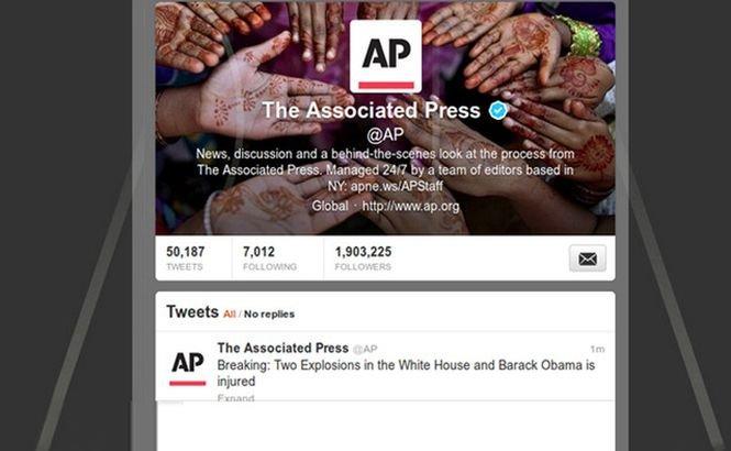 Contul de Twitter al AP a fost atacat de hackeri, care au postat un mesaj fals privind o serie de atacuri la Casa Albă
