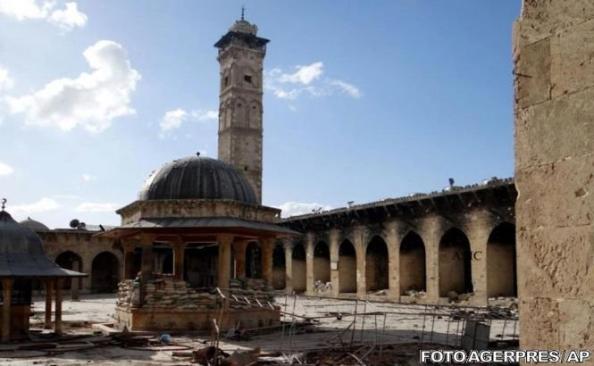 Minaretul Marii Moschei a Omeiazilor din Alep a fost distrus