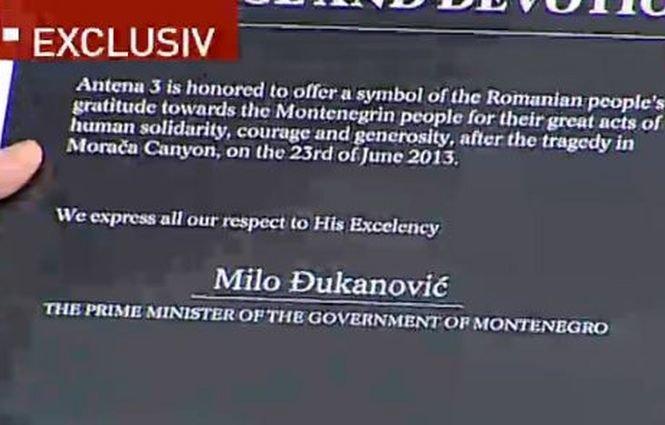 Antena 3 oferă o distincţie premierului din Muntenegru, implicat în gestionarea accidentului din Canionul Moraca