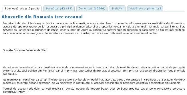 """Peste 92.000 de oameni AU SEMNAT petiţia """"Abuzurile din România trec oceanul"""""""