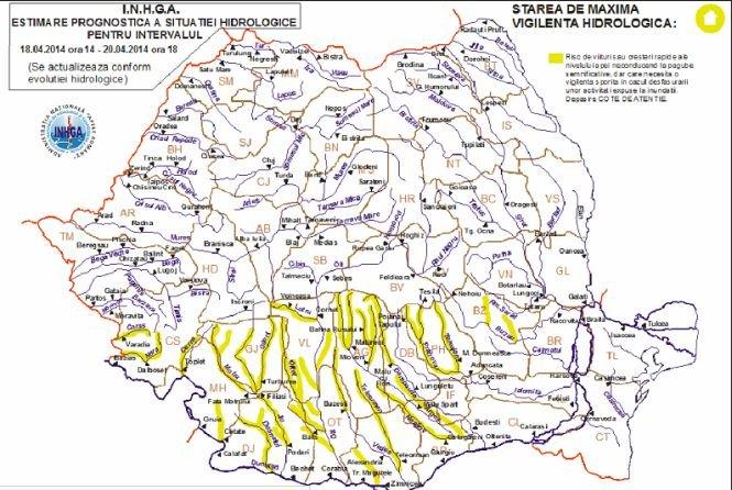 Hidrologii au prelungit avertizarea de INUNDAŢII pentru râuri din 13 judeţe
