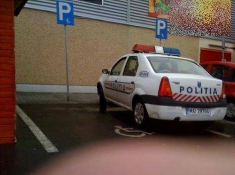 """Poliţiştii au voie! Parcare """"exemplu"""", dată de poliţiştii de la Rutieră"""