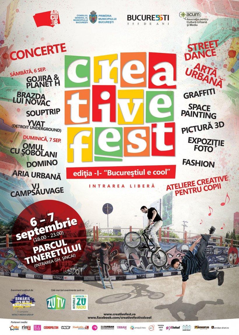 """""""Bucureştiul e cool"""" în perioada 6-7 septembrie. Omul cu Şobolani, Gojira&Planet H şi Brazda lui Novac, la prima ediţie Creative Fest"""