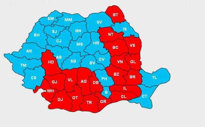 Cum s-a împărţit harta după turul II al prezidenţialelor