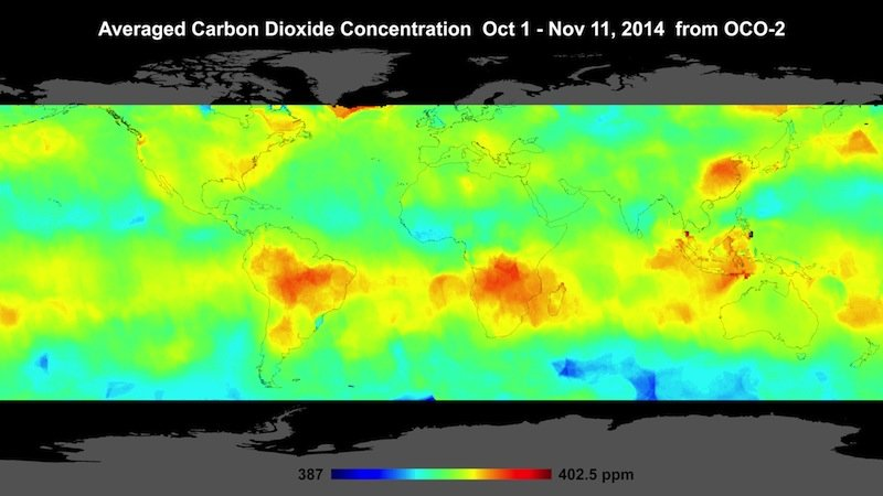 Un satelit NASA a realizat prima hartă care prezintă în detaliu concentraţia de CO2 din atmosfera Terrei