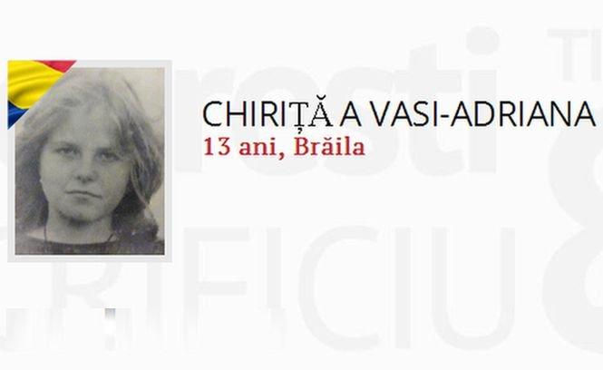 DĂ VIAŢĂ EROILOR! Vasi-Adriana Chiriţă avea 13 ani când a murit împuşcată la Revoluţie