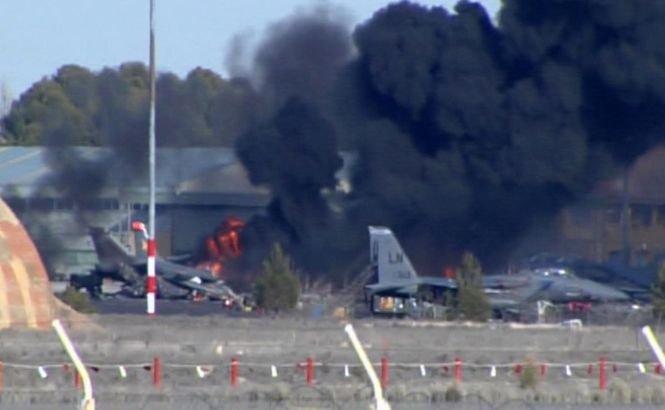 F-16-le prăbuşit la baza NATO din Spania a avut probleme tehnice la decolare