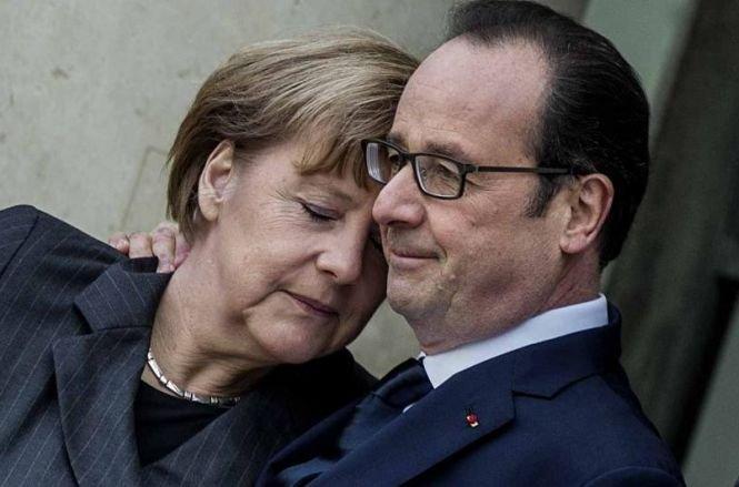 Preşedintele Francois Hollande şi cancelarul Angela Merkel, vizită surpriză la Kiev