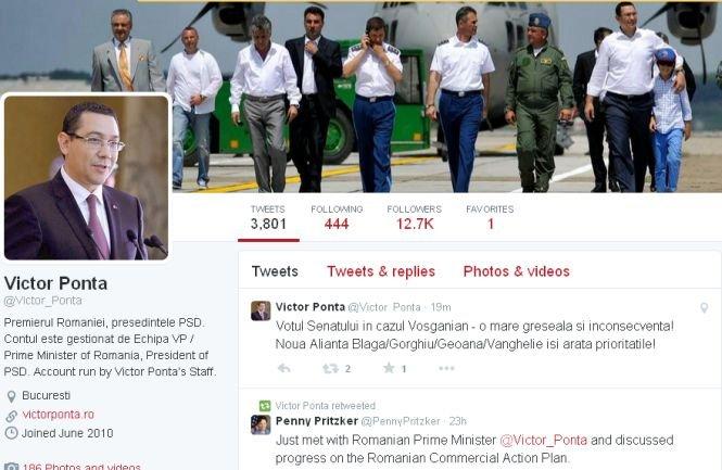 Ponta, pe Twitter: Votul în cazul Vosganian, o mare greşeală. Alianţa Blaga/Gorghiu/Geoană/Vanghelie îşi arată priorităţile