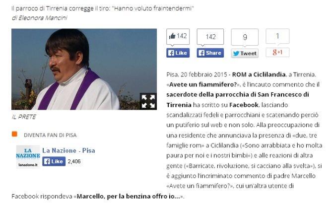"""""""Vin romii, aveţi chibrituri?"""" Un preot român stabilit în Italia, acuzat că a postat pe Facebook un mesaj jignitor"""