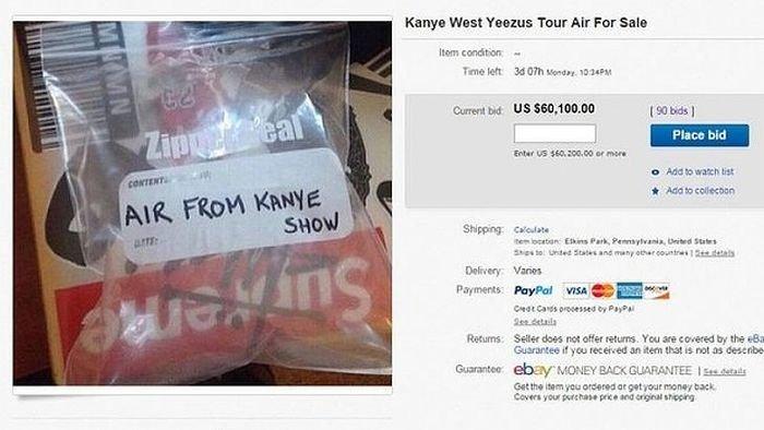 Când prostia întrece ORICE limită. A plătit 60.000 de dolari pe o pungă cu AER de la concertul lui Kanye West