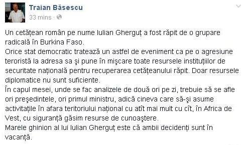 Băsescu, atac la Iohannis şi Ponta în cazul românului răpit în Burkina Faso