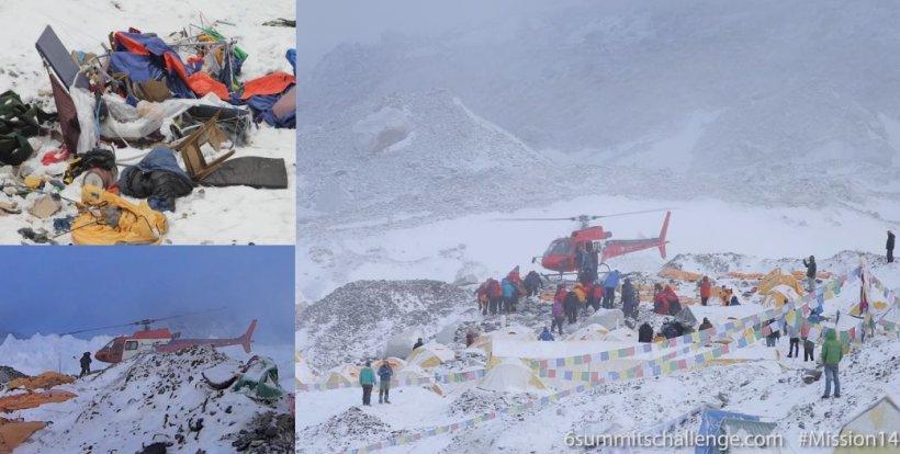 IMAGINI CUTREMURĂTOARE cu distrugerile provocate de avalanşe, pe Everest. Alpiniştii blocaţi pe munte, evacuaţi cu elicopterele